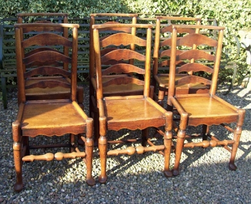 Set of 6 Elm Ladderback Chairs -SOLD-