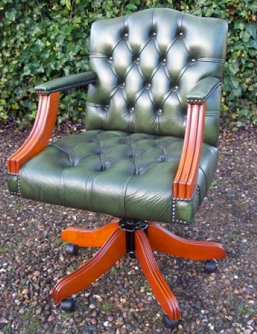 Green Leather Gainsborough Chair -SOLD-