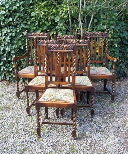 A Set of 6 Oak Barley Twist Chairs