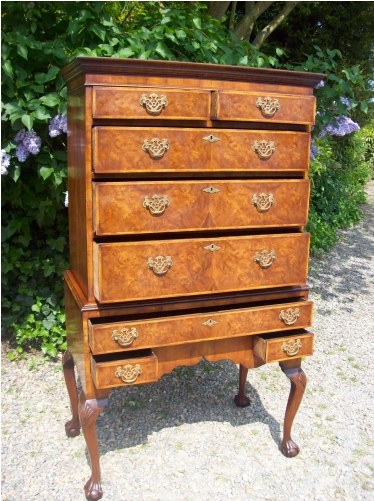 A Walnut Chest-on-Stand