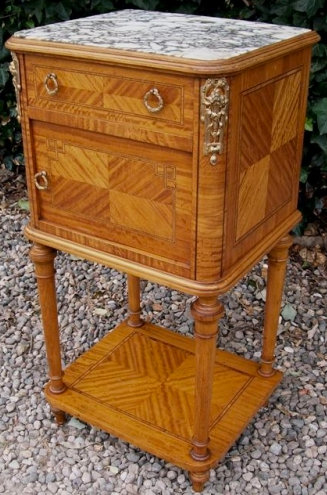 Satinwood Marble Top Cabinet -SOLD-