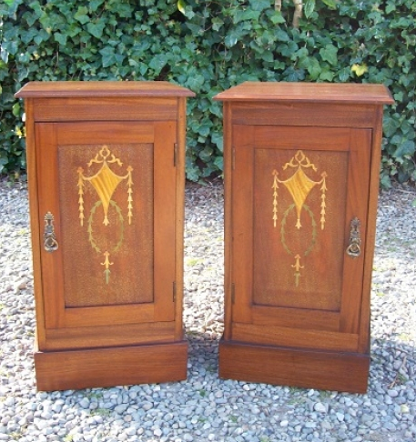 A Pair of Mahogany Inlaid Bedside Cabinets