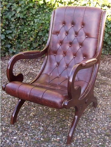 A Brown Leather Slipper Chair -SOLD-