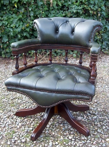 Green Leather Swivel Chair -SOLD-