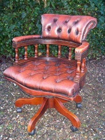 Brown Leather Swivel Chair -SOLD-