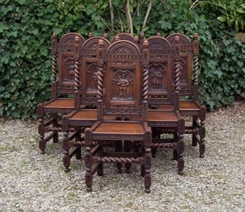 6 Carved Oak Chairs -SOLD-