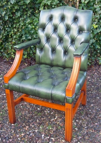A Green Leather Gainsborough Chair