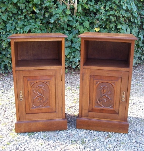 A Pair of Walnut Bedside Cabinets