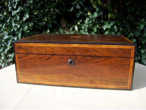 A Victorian Rosewood Inlaid Needlework Box