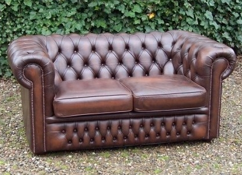Brown Leather Chesterfield Settee -SOLD-