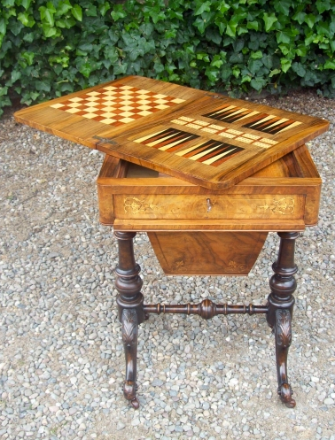 A Victorian Burr Walnut Sewing/Games Table -SOLD-