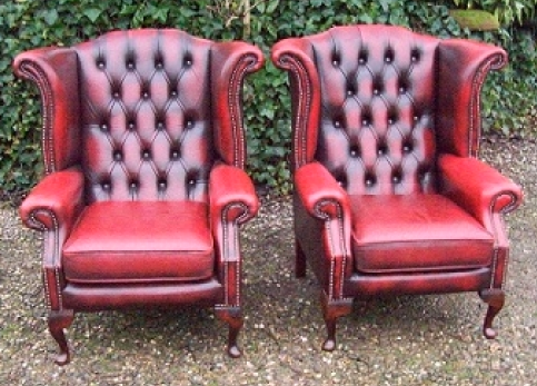 Queen Anne Red Leather Wing Chair -SOLD-