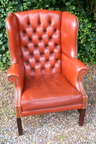 Red Leather Wing Back Chair -SOLD-