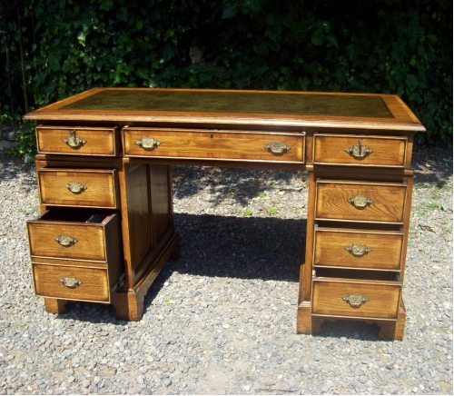 CFA 6372 - An Oak & Yew Twin Pedestal Desk -SOLD-