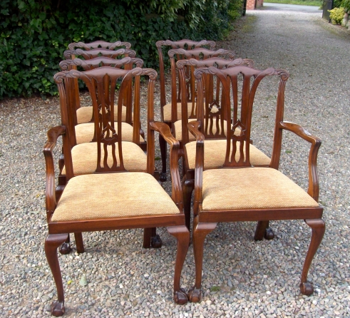 Set of 8 Walnut Chairs -SOLD-