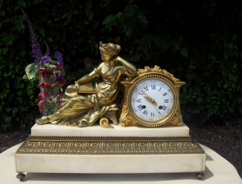 French Gilt Bronze Clock -SOLD-