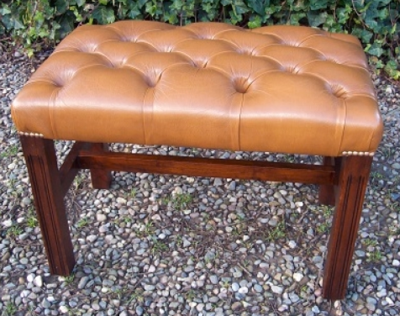 Caramel Leather Stool -SOLD-
