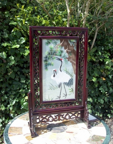 Chinese Silk Table Screen -SOLD-