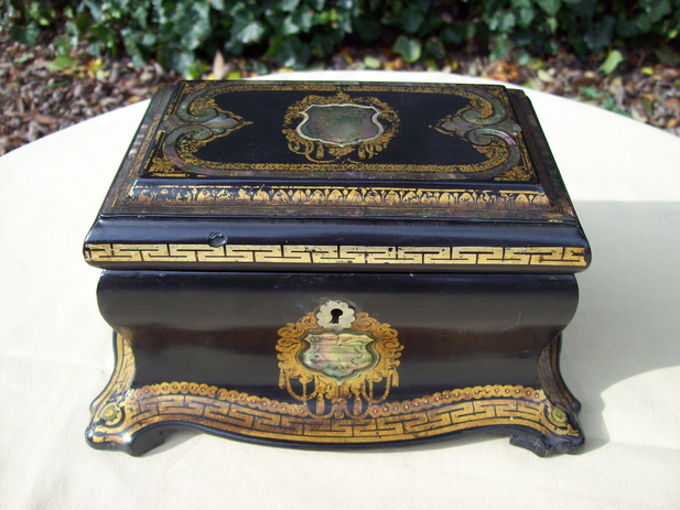 A Victorian Papier Mache Tea Caddy -SOLD-