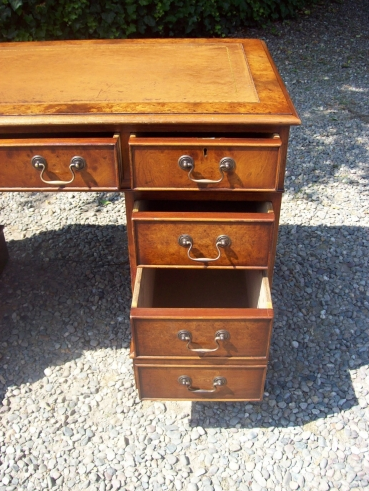Burr Elm Pedestal Desk -SOLD-