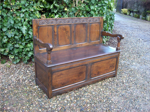A Three Seat Oak Box Settle -SOLD-