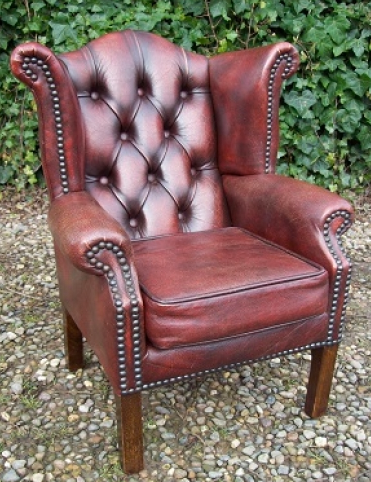 A Childs Brown Leather Chesterfield -SOLD-