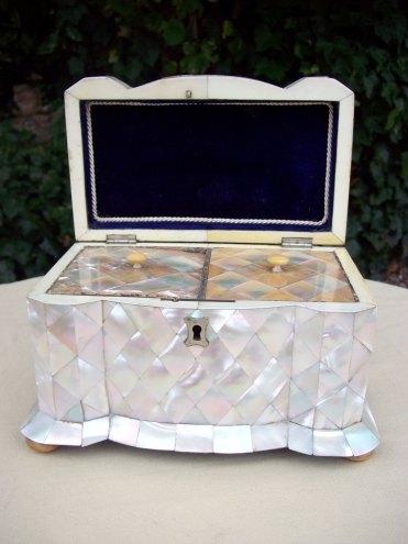 A Mother of Pearl Tea Caddy -SOLD-