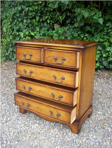 Yew Wood Chest of Drawers -SOLD-
