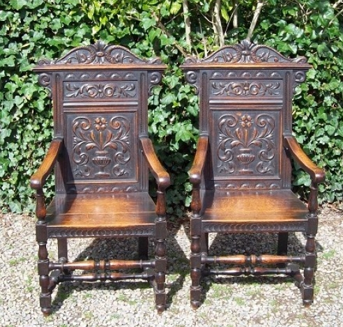A Pair of Victorian Oak Wainscot Chairs
