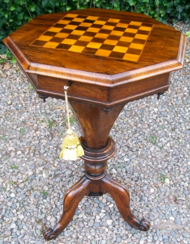 A Victorian Rosewood Sewing Chess Table