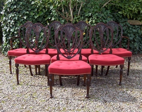 Set of 8 Shield Back Wheatear Chairs