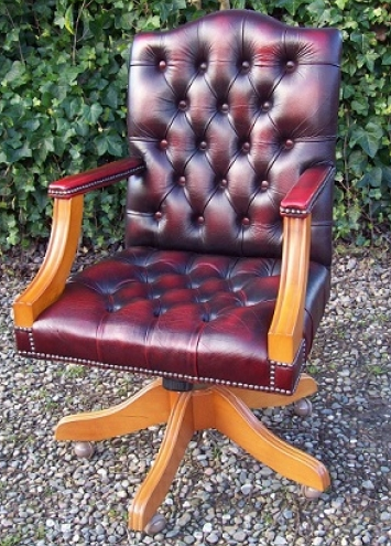 Red Leather Gainsborough Chair
