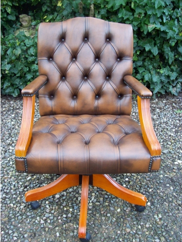 A Leather Gainsborough Desk Chair