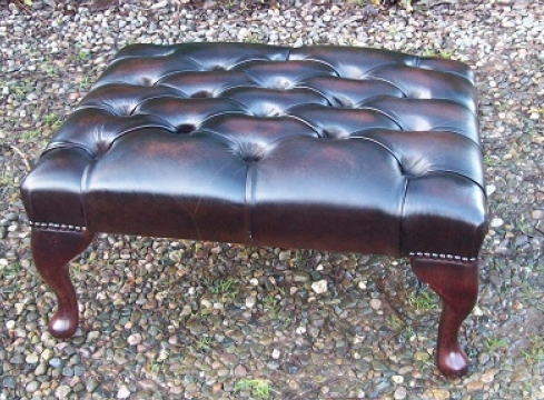 A Brown Leather Foot Stool -SOLD-